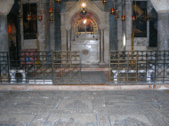 An image from inside the Church of the Holy Sepulchre. The church is built atop where Jesus was crucified.
