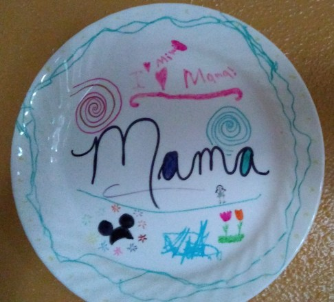Mama's plate shows special touches from family members
