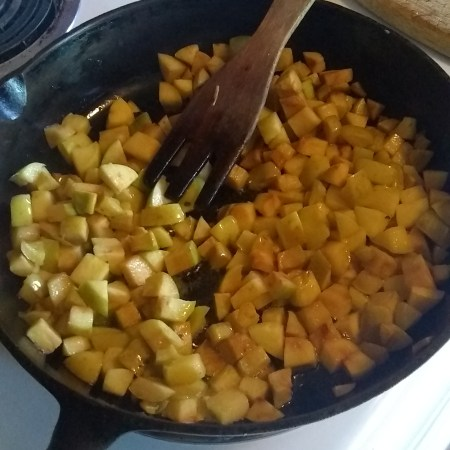 Frying up my free fallen fruit.