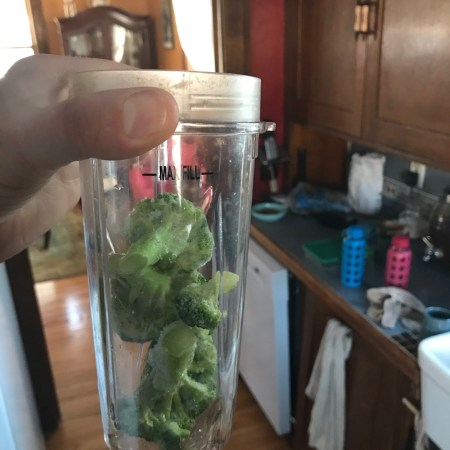 "frozen broccoli added for ""regular"" day lunch smoothie"