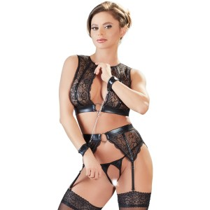 Cottelli Wet Look and Lace Bra Set with Handcuffs