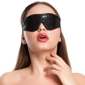 Bondage Boutique Black Rose Faux Fur Lined Blindfold
