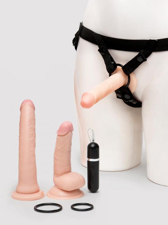 Lifelike Lover Realistic Pleasures Strap-On Dildo Kit (8 Piece)