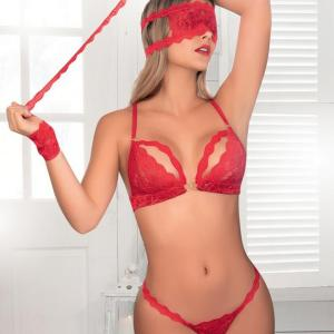 Mapale Red Lace Bra Set With Cuffs and Blindfold