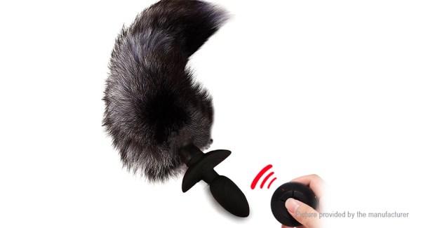 WISTONE Faux Fox Tail Vibrator Silicone Anal Plug