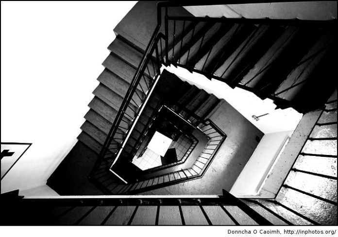Down, down, down the stairs