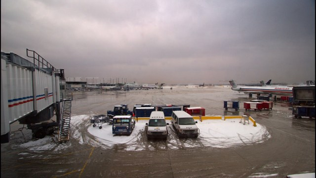 Snow on the runway