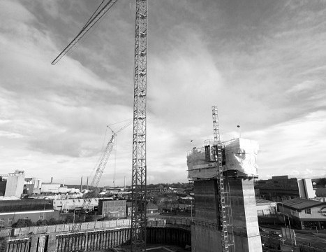Looming over the building site