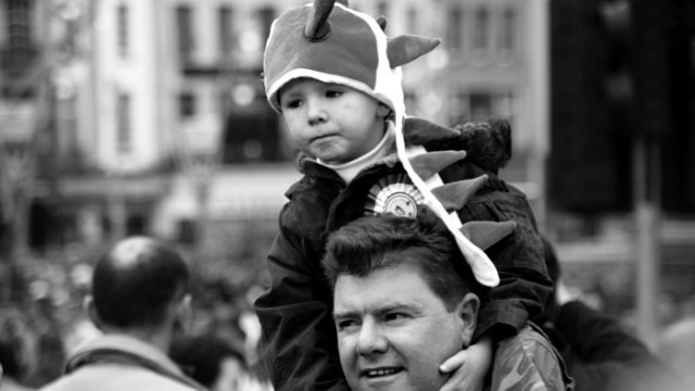 Patrick's Day on dad's shoulders