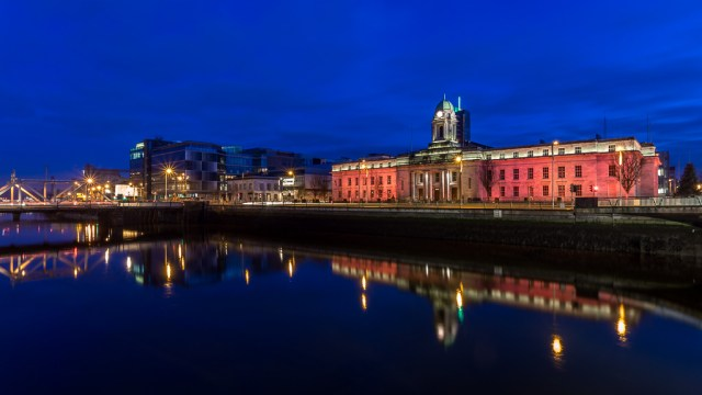 Cork City Hall in Red