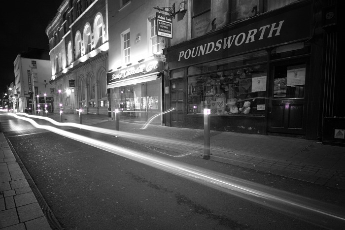 Light trails on Oliver Plunkett Street