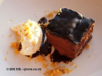 Amedei No 9 chocolate and hazelnut layer cake at Fifteen, Cornwall
