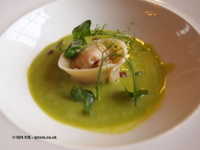 Ham hock tortellini in toffee pea soup at The Elephant Restaurant, Torquay