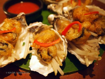 Maldon rock oyster in soda batter with bean-sprout and chilli sauce at Patara, Greek Street