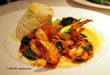 Grilled tiger prawn with stir-fried 'tender broccoli spear' and shiitake mushrooms and wok-fried rice with eggs at Patara, Greek Street