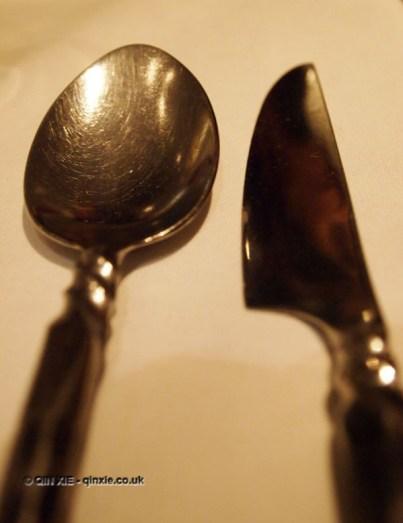 Knife and spoon at Patara, Greek Street