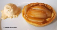 Caramelised pear tart with honey ice-cream at Philip Britten lunch, Fortnum & Mason