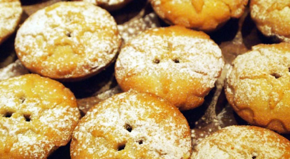 Mince pies close up at Christmas Celebration Menu preview at Malmaison, London