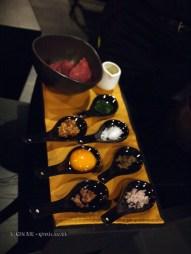 Steak tartare ingredients at Dego, London