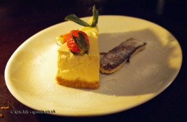 Cheesecake with caramelised banana at Fox and Anchor, Clerkenwell