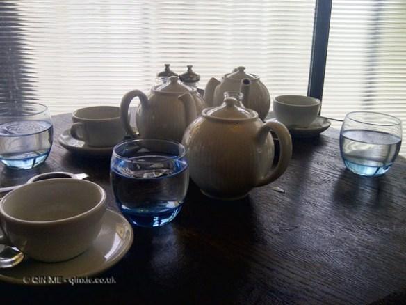 Teapots at Riding House Café