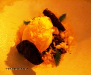 Jerusalem artichokes with chocolate soil and blood orange, Mauro Colagreco and Nuno Mendes at Viajante