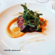 Pink peppercorn dusted beef fillet, tamarind & shallot puree, vanilla verjus dressing, natural wine dinner at The Modern Pantry