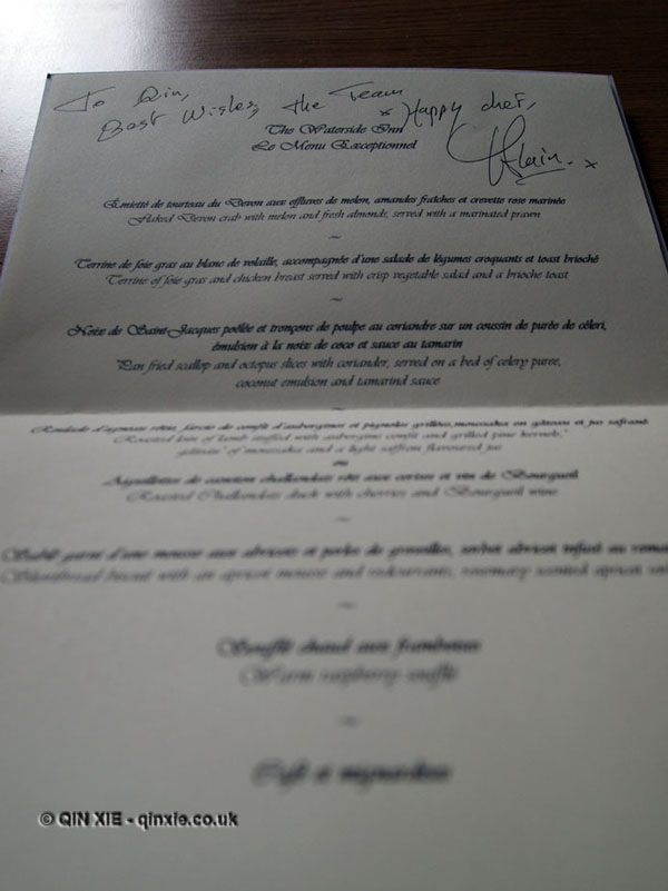 Menu to Qin Xie, signed by Alain Roux, The Waterside Inn, Bray