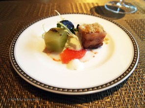 Slow cooked pork belly, prawn Carpaccio with citrus, The River Restaurant, The Savoy