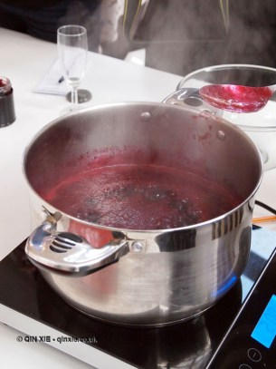 Blackcurrant and chilli jam bubbling in pan, jam making with Vivien Lloyd