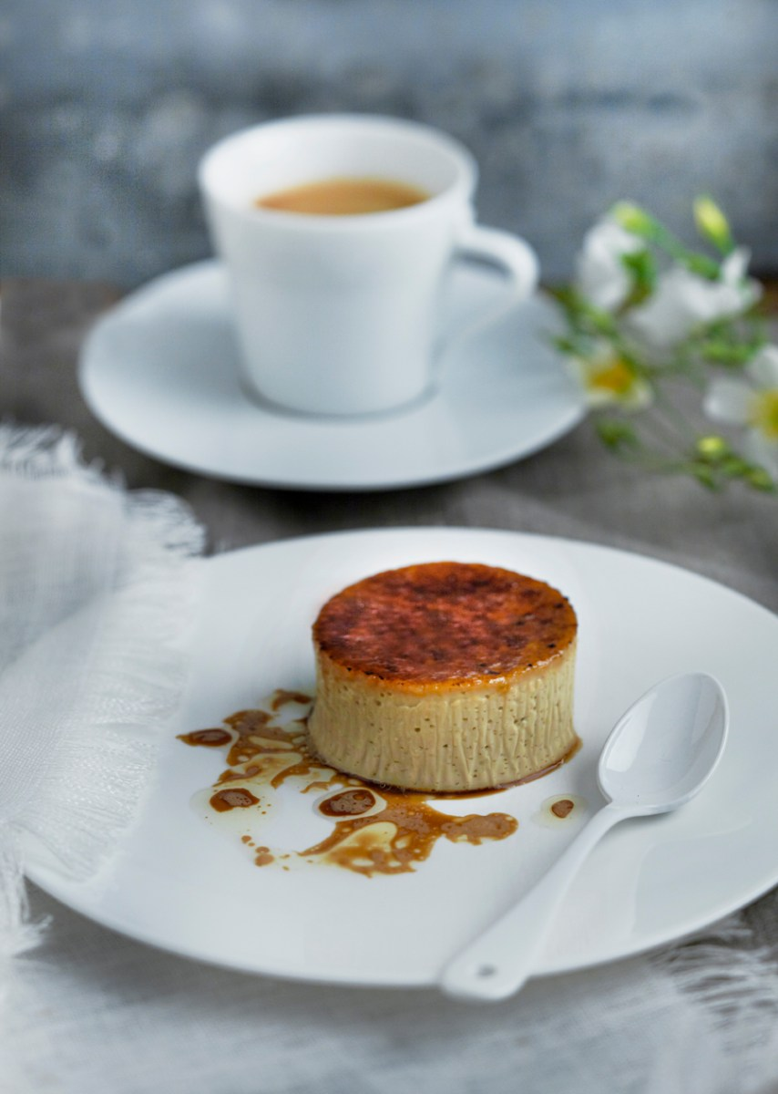 Tonka bean crème brûlée with hazelnut oil and coffee recipe