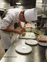 Chef preparing amuse bouche, 25th Anniversary Celebration Menu at Alain Ducasse's Le Louis XV in Monte Carlo, Monaco