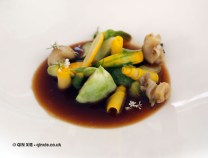 Courgettes, whelks and vegetable consomme, Mirazur, Menton