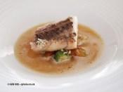 Snapper, okra, razor clams, onion consomme, carrots, Mirazur, Menton