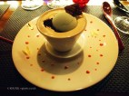 The minty chocolate Araguani, milk foam and mint liqueur sorbet, l'Atelier de Joel Robuchon, London
