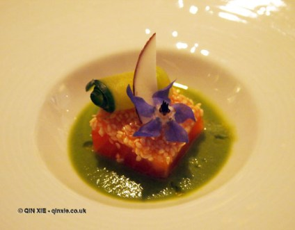 Wild salmon, coconut, wasabi, curry, salad, Champagne Duval-Leroy lunch at The Greenhouse, Mayfair