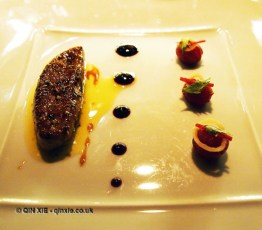 Seared duck foie gras with Muscat grapes and ginger confit, l'Atelier de Joel Robuchon, London