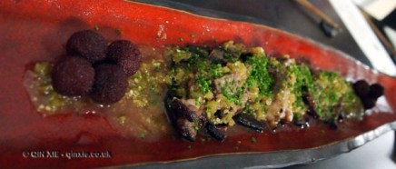 Steak in a chive sauce with berries, Wabi, Holborn