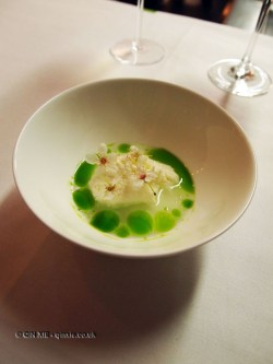 Blackthorn blossom – elderflower cream, mint oil, Bubbledogs Kitchen Table, Fitzrovia