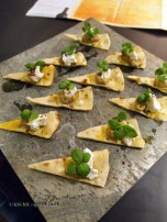 Flatbread canape, Languedoc wines at Apero, Ampersand Hotel