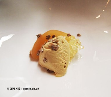 Pear – poached, caramel ice cream, mead jelly, Bubbledogs Kitchen Table, Fitzrovia