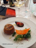 Anchovy tart with misticanza salad, mussel tartin and tomato, Ristorante Beccaceci, Abruzzo