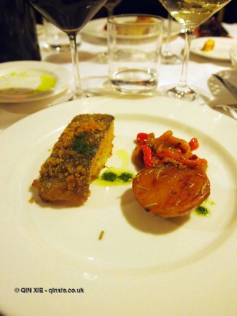 Baked codfish gratin with roasted red and yellow peppers, Locanda Manthone, Abruzzo