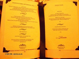 Menu, Mad Hatters Tea Party, Sanderson