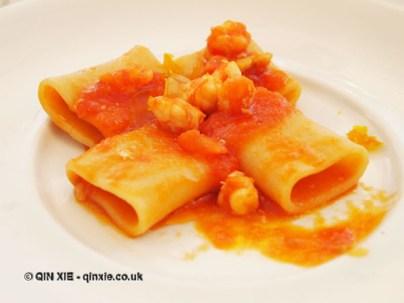 Red paccheri pasta with shellfish, tomato and bottarga, Ristorante Beccaceci, Abruzzo