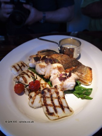 Grilled squid, pan-fried monkfish, pan-fried seabass, Catch by Simonis, The Hague