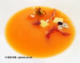 Chilled melon & Prosecco soup, fresh almond & Parma ham, Galvin at Windows, London