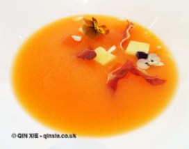 Chilled melon & Prosecco soup, fresh almond & Parma ham, Galvin at Windows, London