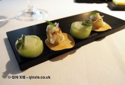 Cucumber and leek canapés, Vrijmoed, Ghent