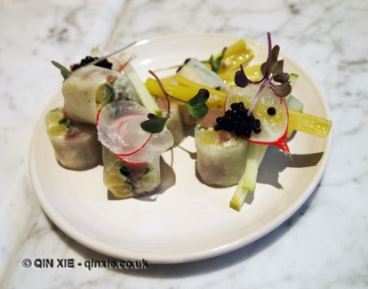 Green beans, cucumber, white tail, yellow beans, spring onion sushi with caviar, radish, green apple and yellow beans, Graanmarkt 13, Antwerp, Belgium